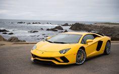 Download wallpapers Lamborghini Aventador S, 2017, supercar, yellow Aventador, racing cars, Italian sports cars, Lamborghini