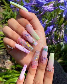 Acrylic Nail Designs Coffin, Purple Acrylic Nails, Clear Acrylic Nails, Summer Acrylic Nails, Pink Nails, Dope Nails, Glam Nails, Aycrlic Nails, Ambre Nails