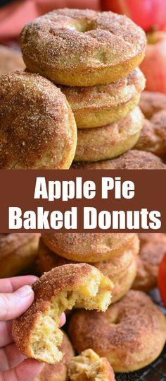 Baked Donut Recipes, Baked Doughnuts, Baking Recipes, Dessert Recipes, Cooking Apple Recipes, Homemade Donuts, No Bake Pies, How Sweet Eats, Yummy Cakes