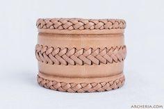 Geflochtenes Leder Armband natur handgemacht von ARCHERIA auf Etsy