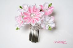 Hand Dyed Cherry Blossom Pink Kanzashi Fabric Flower Hair Comb | Flickr - Photo Sharing!