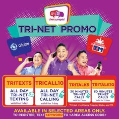 Cherry Prepaid Tri-Net Promos: Enjoy all-day call & text to three networks for as low as P5
