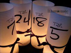 15 numera de Luminary Centro de mesa - 8,5 pulgadas - Número de tabla de la recepción de la boda