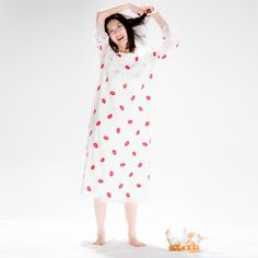 Embroidered Lips Print Lace #Sleepwear #Nightdress