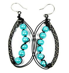 Black and Turquoise Oval Earrings Wire Wrap by FairyJewelryBox