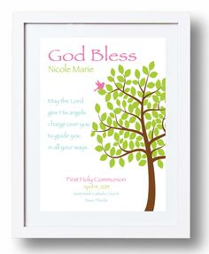 First Communion Gift - Personalized Gift for Girl's First Holy Communion -Custom Communion Keepsake Print - Can be made in other colors. $15.00, via Etsy.