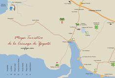 Mapa turístico de la Ciénaga de Zapata con los principales lugares de interés