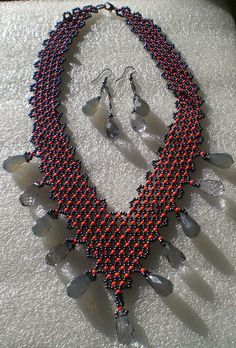 Orange and grey seed bead V-neck necklace with by RimmaBeadwork