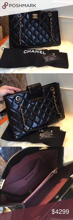 1727a84ef84c Auth Chanel 2016 NEW Quilted Black Leather Tote Brand new never used. Comes  with dust