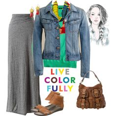 esp the skirt/shoes/bag Modest Outfits, Casual Outfits, Modest Apparel, Loose Braids, Girl Fashion, Fashion Outfits, Blue Jean Jacket, Senior Girls, Casual Summer