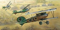 """Among the German Jastas, one of the highest scoring was Jasta 5, with over 250 victories to its credit. Three of its most notable pilots – Ltn d R Fritz Rumey, Ltn d R Josef Mai and Ltn d R Otto Könnecke – gained such a notable reputation that they acquired the nickname """"The Golden Triumvirate."""" Pictured from front to back are: Ltn d R Josef Mai, 30 victories; Ltn d R Otto Könnecke, 35 victories; Ltn d R Fritz Rumey, 45 victories."""
