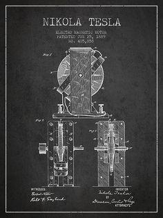 1889 Nikola Tesla Electro Magnetic Motor Patent Print. #patentprints#patentart#patentartprints #agedpixel #tesla