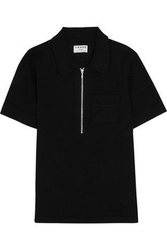 *pair with Dsquared2 zipped cuff trousers, Alexander Mcqueen Legend two tone tote from bag board, and some Louboutins* Wool and cashmere blend polo shirt in black by Frame $240