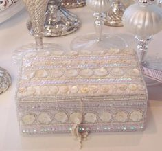 Shabby Chic Style Home Decorating Vintage Finds Rhinestone Clock Chandelier Beaded Garland Pink Roses Décor Crystal Lamps Vanity Boxes Trays Beach Cottage Frames French Tole Roses Mirror Crystal Prisms Candle Holders