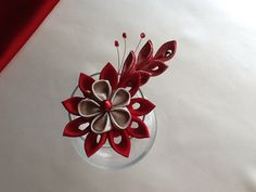 Hair Clip  Red and Gold Kanzashi Flower  Hair door LihiniCreations, $13.00