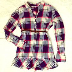 Plaid flannel shirt-dress In perfect condition.  Belt not included.  Great for any season :)  make offer! American Eagle Outfitters Dresses Long Sleeve