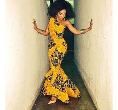 Asymmetrical Ankara Mermaid Dress for Women/ Dashiki Prom Outfit/ African Print Fabric Long Dress