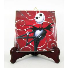 Jack Skellington collectible ceramic tile inspiredy by The Nightmare... (13 CAD) ❤ liked on Polyvore featuring home and home decor