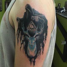 Dementor/Patronus (My first tattoo!) by David Williams Tattoo Artistry Tucson AZ. Nerdy Tattoos, Great Tattoos, Body Art Tattoos, Sleeve Tattoos, Tatoos, Awesome Tattoos, Phönix Tattoo, Deer Tattoo, Tattoo Fonts