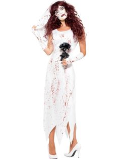 Vow to look awesome this Halloween in the ladies Zombie Bride Costume. With a white dress, gloves, and veil, it is a go-to option for this year's Halloween. Co