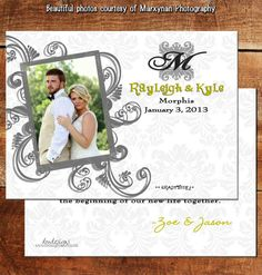 Wedding Photo Thank You Card / Newly Wed Photo Thank You Card / DM2925