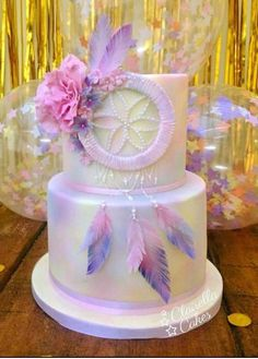 Dream Catcher cake - a rich chocolate cake filled with dark chocolate ganache buttercream perfect for chocoholics 💗 💗 Wild One Birthday Party, My Birthday Cake, Birthday Parties, Birthday Ideas, Pretty Cakes, Cute Cakes, Bohemian Cake, Bohemian Party, Dream Catcher Cake