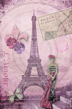 Deconstructing Paris Collage No.1 L'Amour Eiffel by fringeart