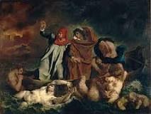 """""""La barca de Dante"""", Delacroix. Año 1822. Se encuentra en el museo del Louvre."""