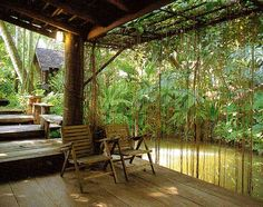 No pond but can recreate with bamboo and greenery behind