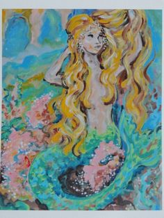 Mermaid Art print 8x10 Blonde hair pink coral by MariasIdeasArt, $18.00