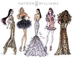 Hayden Williams Fashion Illustrations | Red Carpet Glam by Hayden Williams