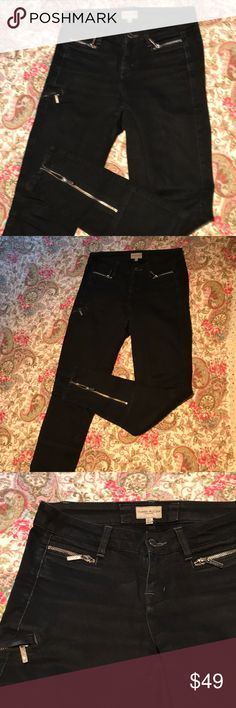 Karen Millen black motorcycle jeans w/ zips. Sz 4 Edgy black motorcycle jeans with great zip details at pockets, thigh and ankle. Good used condition. Karen Millen Jeans Skinny