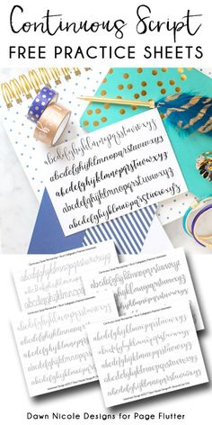 Continuous Script Penmanship Practice Worksheets. Develop your BUJO penmanship and brush calligraphy skills with these free practice worksheets!
