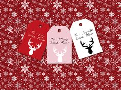 Printable reindeer gift tags, DIY gift tags, Christmas gift tag, gift wrap, gift tags, printable tags, home made gift tags by ChloeDrapeauArt on Etsy Diy Christmas Tags, Holiday Gift Tags, Love Mom, Homemade Gifts, Interior Design Living Room, Reindeer, Design Trends, Diys, Merry