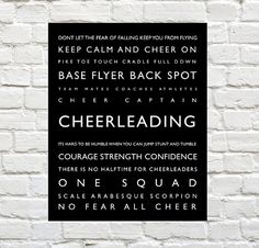 Cheerleading - Sports Decor - Cheerleading Typography Prints by PaperWallDesign can be Personalized to include your Athletes Name. Motivational words to celebrate and inspire your Cheerleader. Explore our entire collection of Sports Typography Prints to celebrate the Athlete in your life! #Cheerleading