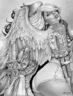 Tennis shorts turned toward the artist, a woman with angel wings shows off her full sleeve. A monk-like figure crouches in the corner. Title: Angel Girl Artist: Mouse Lopez Made-to-order giclee fine a