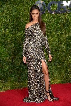 Joan Smalls in Givenchy at the 69th annual 2015 Tony Awards in NYC. Not sure why she's there, but when you look this good, who cares…