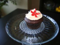 Black, red and white cupcake tower