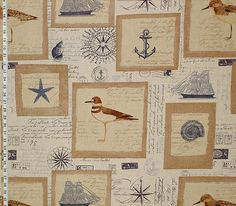 Nautical fabric ship starfish vintage French letters from Brick House Fabric: Novelty Fabric