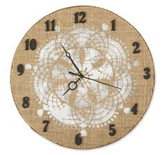 Traditional Burlap Clock http://www.michaels.com/burlap-traditional-clock/33063,default,pd.html?start=9=projects-generalcrafts-craftthroughthedecades