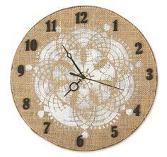 2013 Burlap Traditional Clock, large