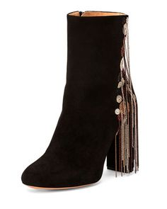 Bead-Fringe Suede Ankle Boot, Black/Mix by Chloe at Bergdorf Goodman.
