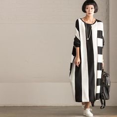 Korean Style Maxi Size Loose Knitting Stripe Bat Sleeve Dress Casual Tops Women…