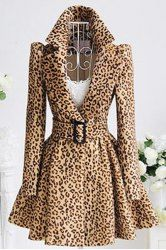 Stylish Turn-Down Collar Long Sleeve Leopard Print Belted Women's Coat