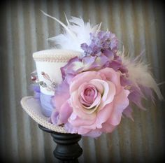 Mini Top Hat, Purple Flower Explosion Mini Top Hat, Alice in Wonderland, Mad Hatter Hat, Steampunk, Tea Party Hat, Kentucky Derby Hat