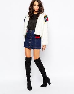 Image 4 ofNative Rose Out Of Mongolia Faux Fur Crop Jacket with Embroidered Epaulettes