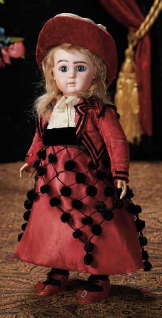 French Bisque Bebe, Figure A, by Jules Steiner in Wonderful Antique Costume. Lot # 90