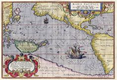 """"""" Maris Pacifici """" … The first printed map dedicated to the Pacific Ocean was drawn by Abraham Ortelius in 1589"""