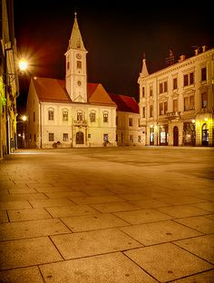 Varazdin by night... Trg Kralja Tomislava, famous Korzo is the center of town, with Varazdin City Hall. Varazdin use to be the capital of Croatia, but after the big fire in 1776, Zagreb became the political centre of the country. Varazdin is still considered the capital of Zagorje region and it is one of the most vibrant towns in Croatia. It holds the strong political, economical, cultural and social position in the Country.