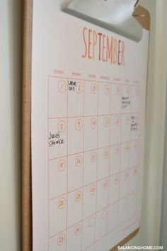 calendar printable *like the wall mounted wooden clipboard to use for calendar